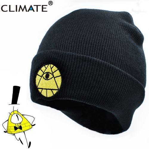 CLIMATE Gravity Falls Bill Winter Warm Knit Beanie Skullies Hat Caps Adult Boy Dipper Mabel Bill Black Cool Men Acrylic Knit Hat