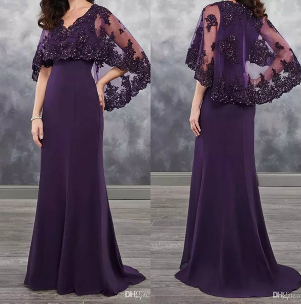Dark Purple Mother of the bride dresses chiffon with bolero sheer with Applique shining sequins 2018 new arrival chiffon wedding guest dress