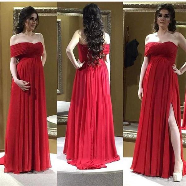 Compre Elegante Rojo Largo Prom Vestidos Más El Tamaño De Cintura Alta Una Línea Lado Dividir Gasa Embarazadas Vestido De Noche De Las Mujeres 2018