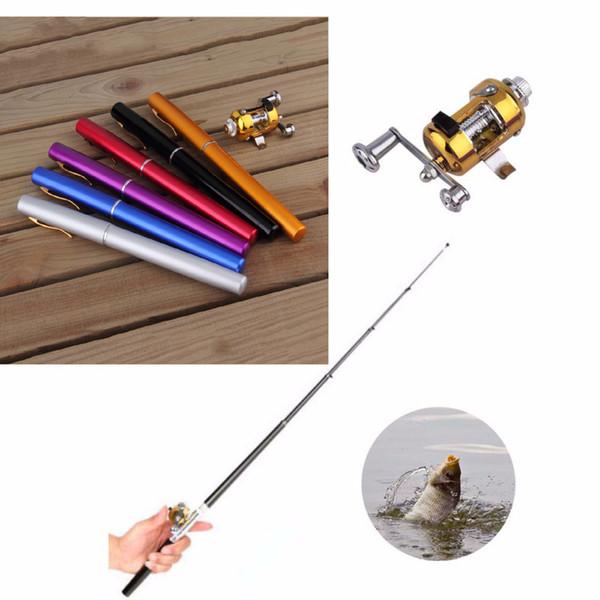 Mini Portable Pocket Fish Pen Lega di alluminio Canna da pesca Pole Reel Pocket Pen Canna da pesca Pole Bobina Combo 6 colori
