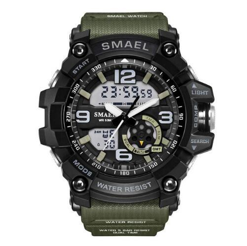 S Watches Army Men Wristwatch Led Quartz Watch Digtial Dual Time Clock Smael 1617 Reloj Hombre Sport Watch Army