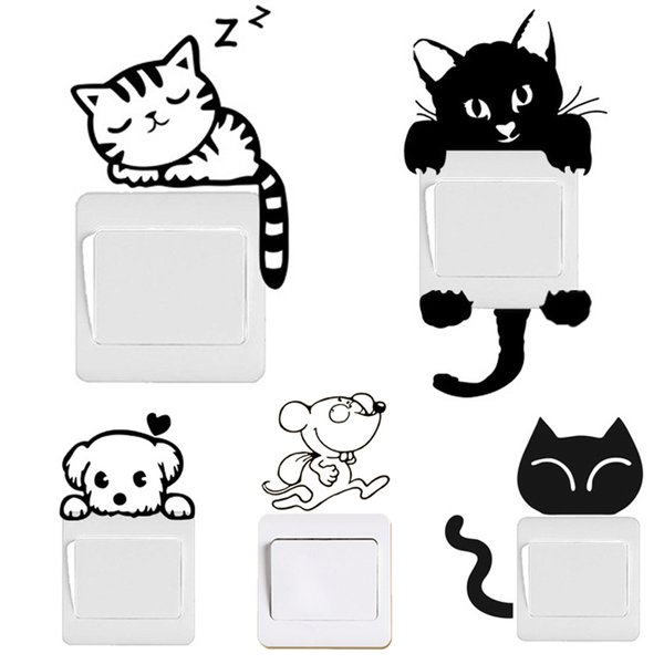 Switch Decal Wall Stickers DIY Funny Cute Black Cat Dog Rat Mouse Animls Home Decals Bedroom Kids Room Light Parlor Decor