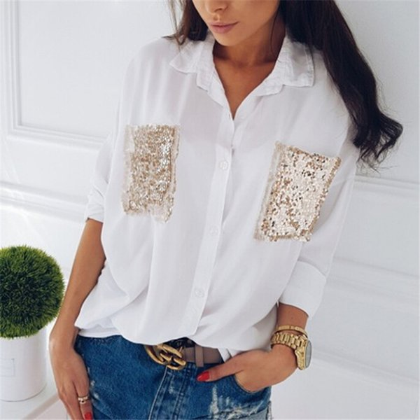 hirigin fashion women shirt 2018 chiffon casual long sleeve chest sequined pocket cool blouses loose female blouse women, White