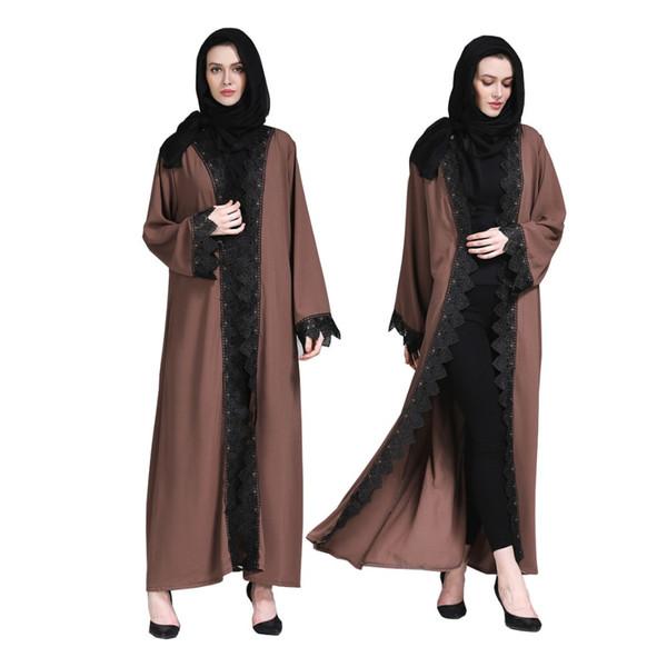 Adulte Musulman Abaya Islamique Vêtements Pour Femmes Dubai Arab Islamique Vêtements Haute Qualité Dames Dentelle Robe Devant Ouvert Abaya