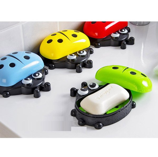 Factory Free Shipping Bathroom cute soap dish Colorful Ladybug Soap Box Cute Cartoon soap dishes for bathroom sets holder 1 Pc Wholesale