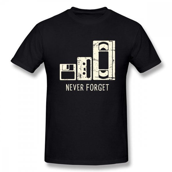 New Stylish Never Forget T Shirt Floppy Disk Cassette Vhs Tape Tees Unisex Pure Cotton Unique For Boy Christmas Gift