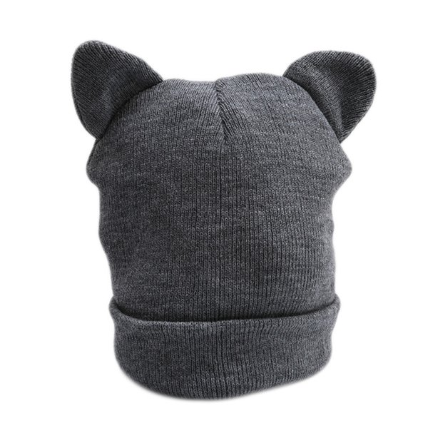 Cute Cat Ears Knitted Hat Lovely Funny Winter Warm Beanie Hat For Women Female Wool Cap Fashion Design Gray White 994102
