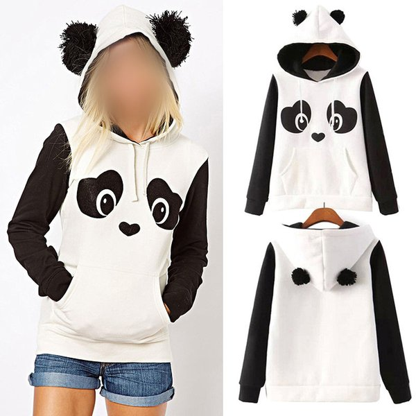 S-3XL Cute Women's Panda Fleece Pullover Hoodie Sweatshirts Hooded Coat Tops Hot!