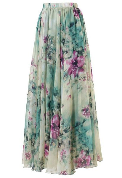 2017 Summer BOHO Women Floral Chiffon Long Maxi Full Skirt Summer Beach Skirt