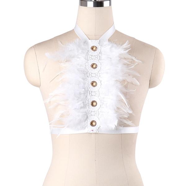 8b432686fa7cdd Fetish Feather Body Harness Wear Cage Bra Women Sexy Bondage Lingerie  Handmade Cupless Body Harness Goth