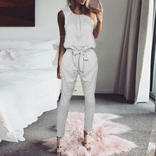 Fashion Women Jumpsuit 2018 Elegant Sleeveless Casual Harem Pants Rompers Playsuit Solid Belted Overalls Combinaison Long Mono