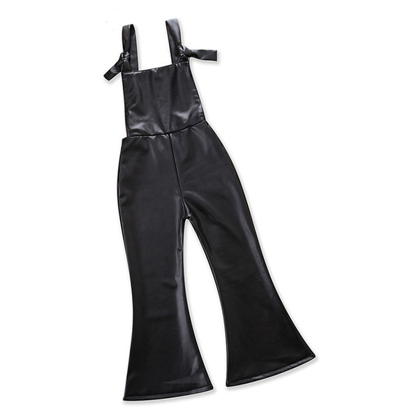 Girls Flares PU Bell-bottoms Baby Girls Rompers Lace-up Wide Leg Pants Fashion Cool Vest Summer Spring Autumn Flare Trousers Clothes