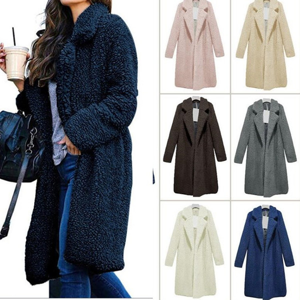S-3XL Women Sherpa Wool Coat Jacket Winter Warm Fuzzy Long Sleeve Lapel Faux Fur Shaggy Sweatshirt Solid Color Fleece Sweater Outerwear Tops