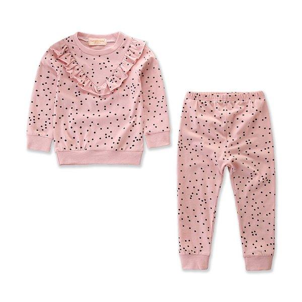 Toddler Kids Baby Girl Ruffle Polka Dot Long Sleeve Tops Pants Leggings 2Pcs Outfits Clothes Set