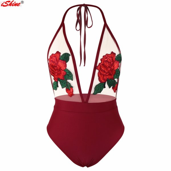 iShine Swimwear Women Sexy One Piece Swimsuit Halter Mesh Perspective Rose Embroidery Patchwork Backless Swimwear Bathing Suit