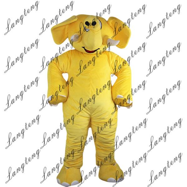 2018 Nuovi costumi della mascotte dell'elefante giallo di alta qualità per il vestito operato dal vestito da Halloween dell'attrezzatura di Halloween del circo degli adulti Shipping012 libero
