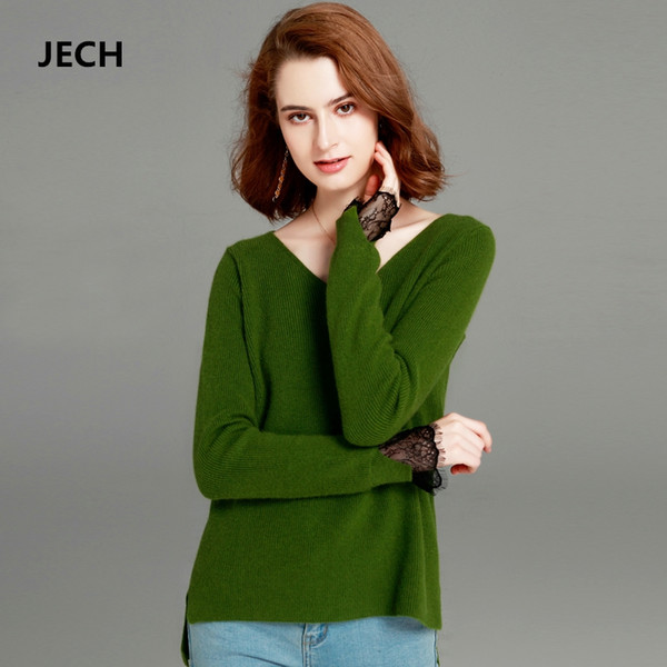 Winter Sexy V-Neck Lace Sleeve Sweaters Cashmere Wool JECH Winter Casual Women Solid Long Sleeve Party Pullovers Jumper Knitted