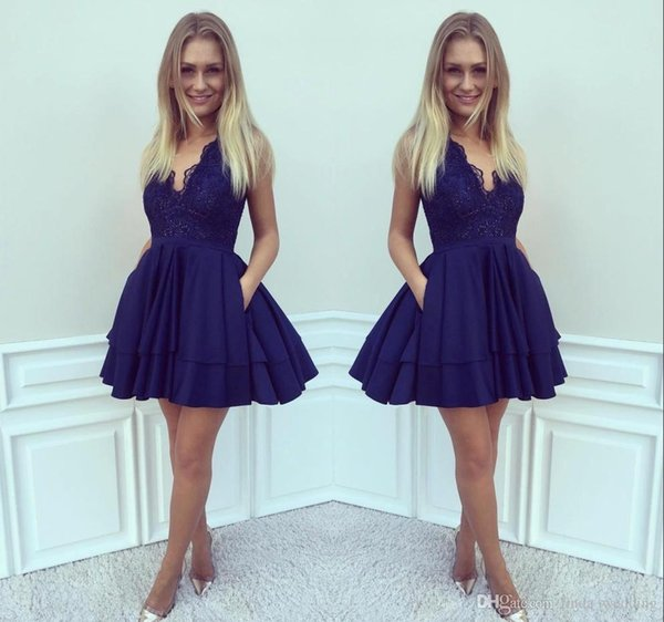 Cheap Royal Blue Lace Homecoming Dress A-line Juniors Sweet 15 Graduation Cocktail Party Dress Plus Size Custom Made