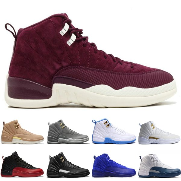 2018 12 12s mens basketball shoes Wheat Dark Grey Bordeaux Flu Game The Master Taxi Playoffs University French Blue Gym Red Sports sneakers