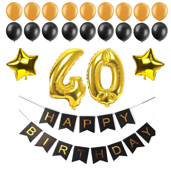 40 50 60 30 Years Old Balloon Happy Birthday Paper Bunting Banner Number Foil Latex Balloons Birthday Party Decoration Supplies Kids Party Themes Kids
