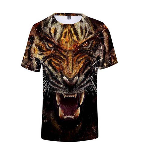 2018 New Summer 3D Printed Tiger T-Shirt Short Sleeve T-Shirt Cool Casual Jacket Hip-Hop Men's T-Shirt Plus Size 4XL