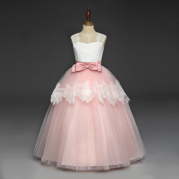 New style harness lace children's skirt bow tie belt flower dresses wedding dress sleeveless princess dress for big girls tutu skirts