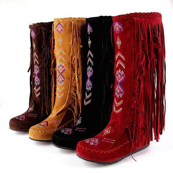 YJSFG дом женщины зимние сапоги китайский стиль плоские каблуки колено высокие сапоги старинные женщины кисточкой длинные стадо обувь