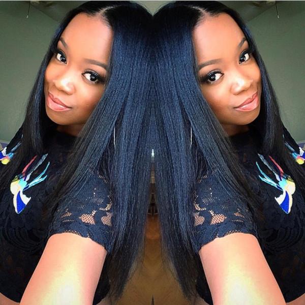 5 * 4.5 '' Glueless Soie Top Full Lace Perruques Lumière Yaki Brésilienne Vierge Cheveux Full Lace Perruques de Cheveux Humains Yaki Droite Pour Les Femmes Noires