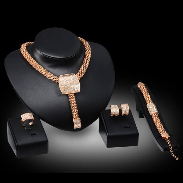 Necklaces Earrings Bracelets Rings Jewelry Sets Fashion Women Rhinestone 18K Gold Plated Geometric Square Wedding Jewelry 4-Piece Set JS035