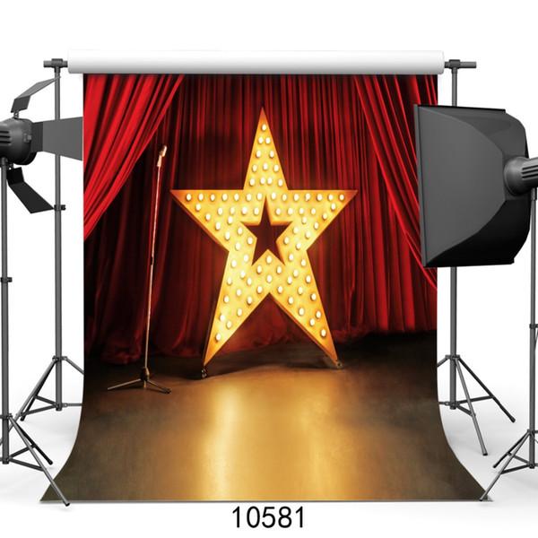 Scènes de photographie de scène Rideau rouge Pentagramme 3D Arrière-plans pour studio de théâtre Théâtre Vinyl Cloth Photography Accessoires