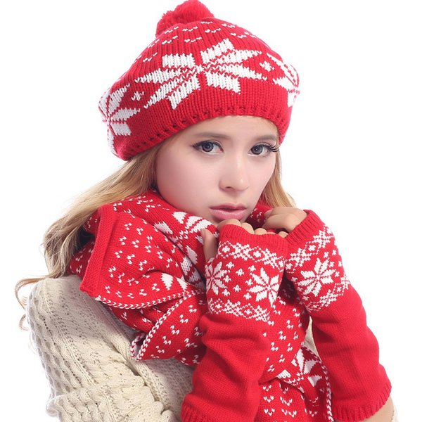 1 Set Women Knitted Scarf Hat Gloves Snowflake For Christmas Gift Winter Warm Knitting Wool Ladies Shawl Ski Beanies Cap Mittens