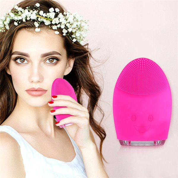 2018 New Electric Face Cleanser Vibrate Pore Clean Silicone Cleansing Brush Massager Facial Vibration Skin Care Spa Massage 20pcs
