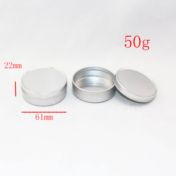 50g empty cream aluminum can container jar for cosmetics, hand cream containers bottles ,1.7oz balm metal container,food pot