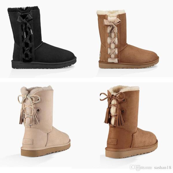 2018 VENDA QUENTE Nova Moda Austrália clássico botas de inverno baixo de couro real Bailey Bowknot mulheres bailey bow botas de neve Tamanho EUA 5-10