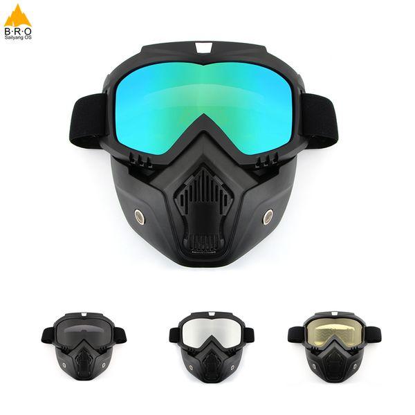 Männer / Frauen Fahrrad Fahrradmasken Outdoor Radfahren Gesichtsmaske Brille Motorrad winddicht Abnehmbare Brille Maske Schutz Anti-UV