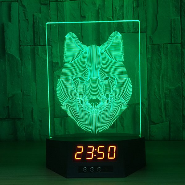 3D Wolf Illusion Clock Lamp Night Light RGB Lights USB Powered 5th Battery IR Remote Dropshipping Retail Box