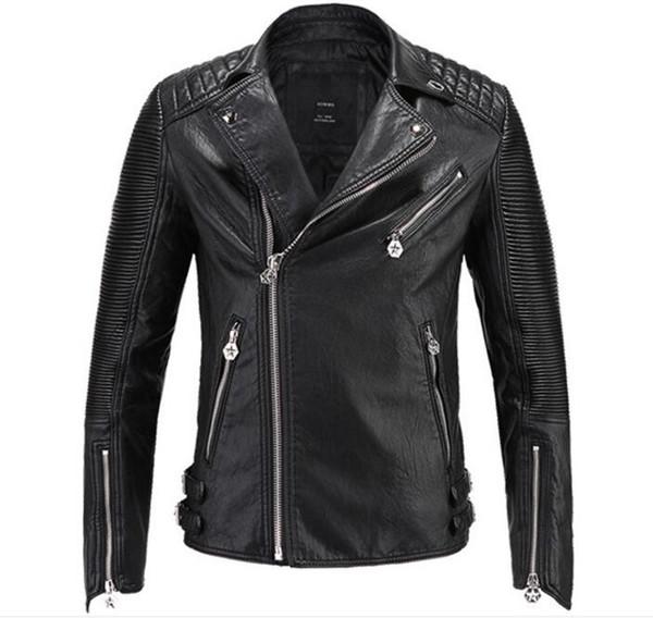 top popular 2018 Brand men Motorcycle jacket water washed leather jacket men clothing fashion skull plus size leather coat 2019