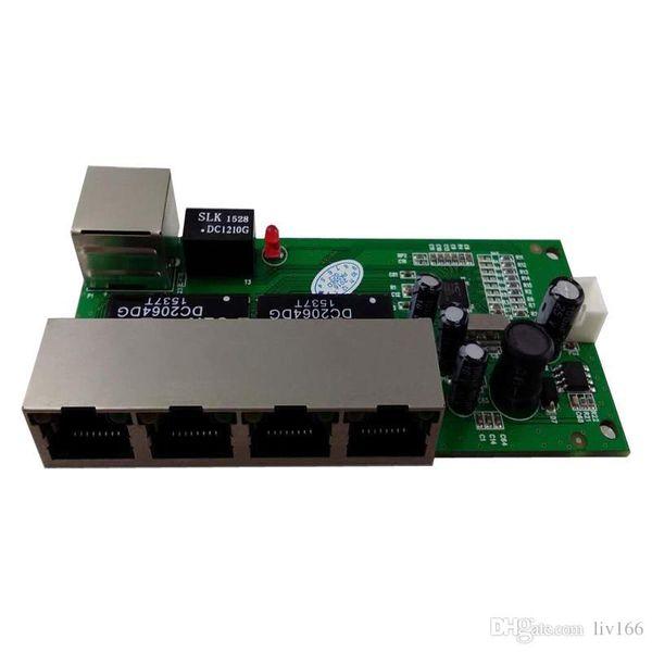 OEM interruptor mini 5 portas 10 / 100mbps switch de rede 5 v 12 v ampla entrada de tensão módulo smart ethernet pcb rj45 com led built-in swtich