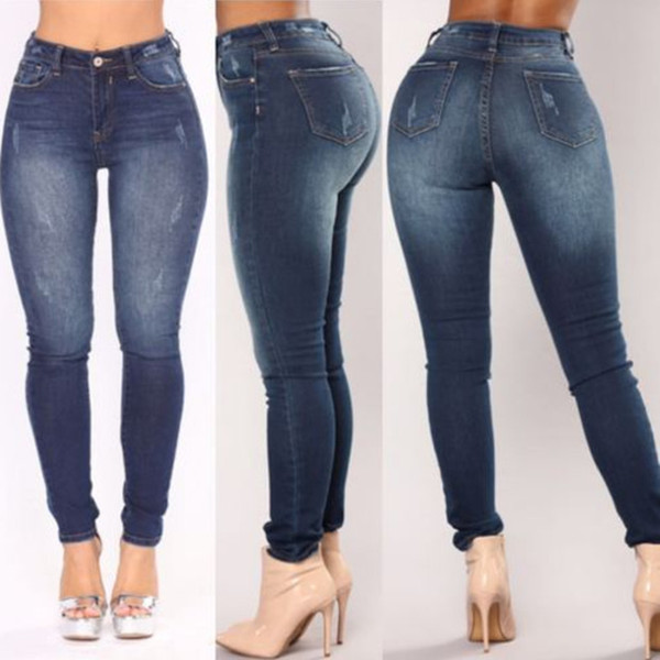 new arrival Midweight England Style high waist casual fashion elastic jeans ripped women pencil pants trousers