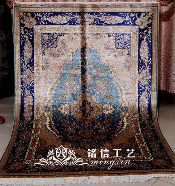 Mingxin Carpet 4x6 feet hand weave red large sunflower silk hand knotted Tabriz handmade persian carpet floor rug pray mat