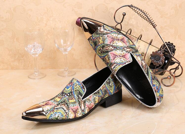 Новый имитировать 2018 Мужская натуральная кожа оксфорд обувь повседневная бизнес острыми носами обувь мужской печатных платье обувь homme classique