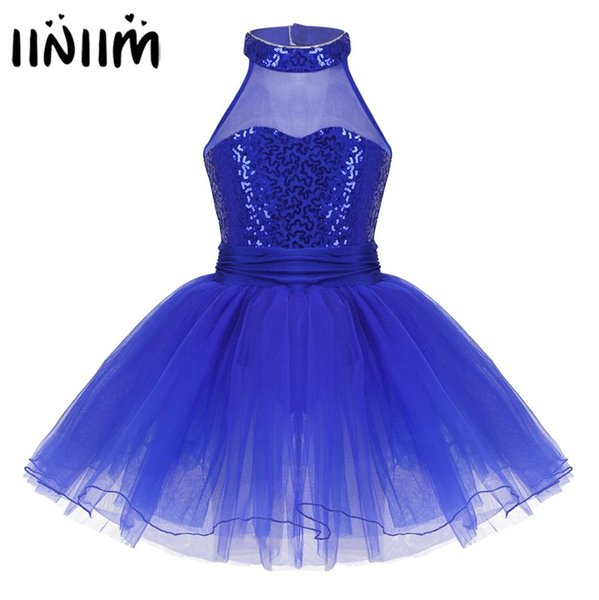 Kids Fairy Party Dancewear Sleeveless Mesh Splice Sequins Ballet Dance Gymnastics Leotard Girls Tutu Ballerina Dress Costumes