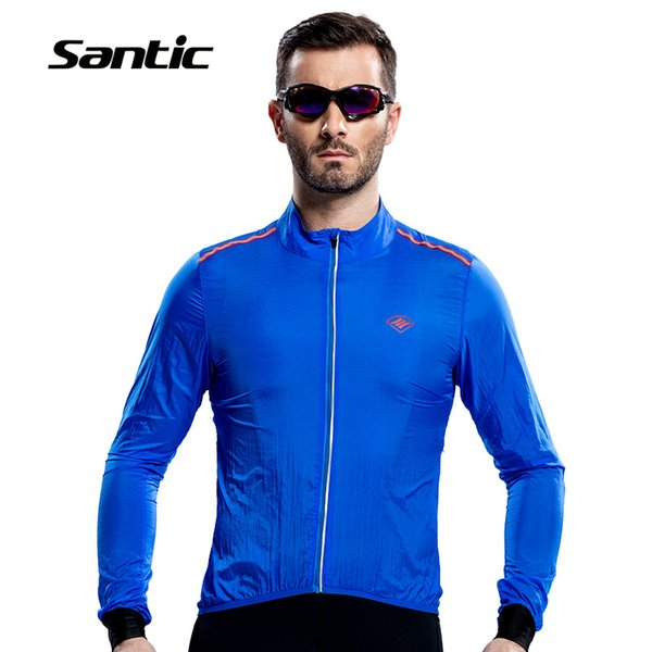 Santic Men Raincoat Windproof Sun Protection Blue Long Sleeve UPF30+ Cycling Jacket Waterproof Summer Bicycle Clothing Skinsuit
