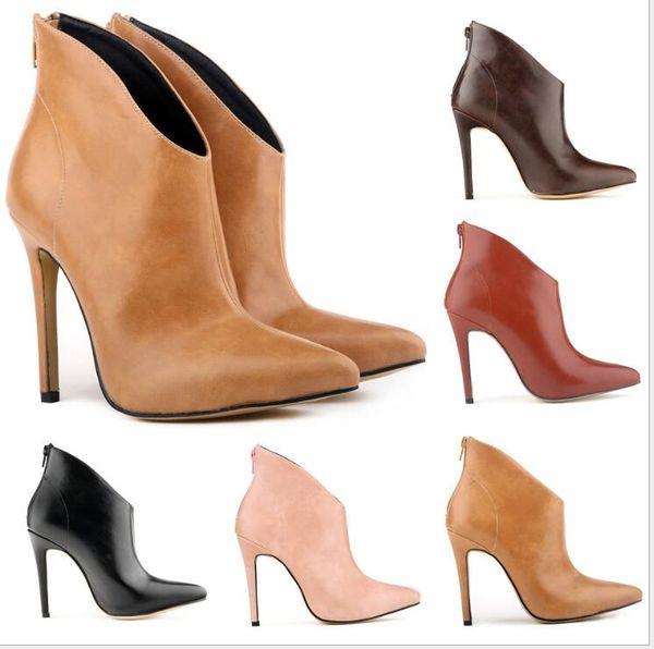 Européenne Américaine Nouvelles Femmes Talons Hauts Haute qualité Pointu Super haute Fine couleur Solide couleur mode Femmes chaussons