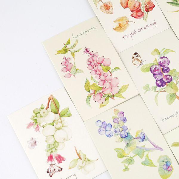 5.2 * 8 cm 54pcs Mini Tarjeta de plantas pintadas a mano imprimir deja tarjetas de mensaje Lucky Love valentine invitación de la fiesta de Navidad uso