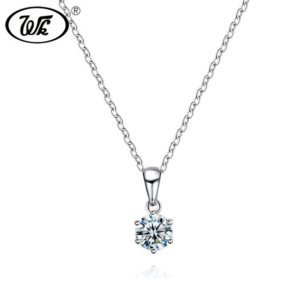 WK 925 Silver Basic Simple Classic 6MM Crystal Pendant Necklace For Women 925 Sterling Silver Necklace Jewelry Girls Gift NZ047