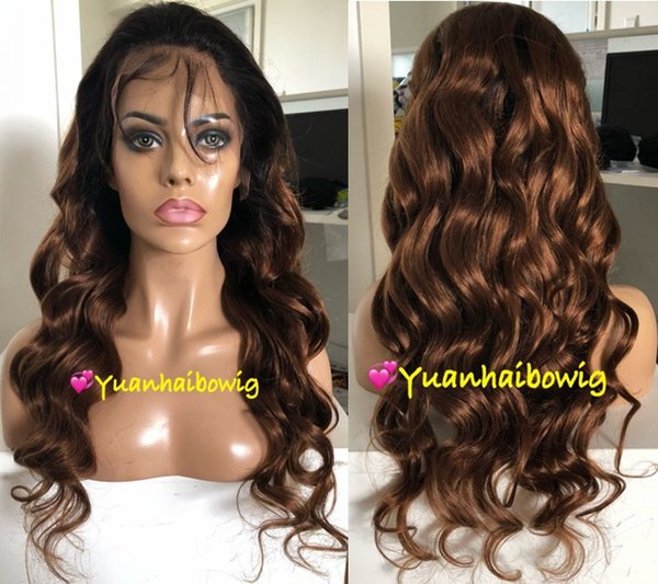Ombre Brown Full Lace Wigs Fashion Celebrity Wigs Vigin Malaysian Human Hair Lace Front Wigs Loose Wave Free Shipping