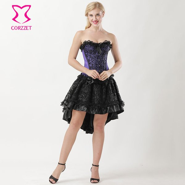 2019 S 6XL Vine Flocking Victorian Corset Skirt Ett For Women Outfits  Gothic Dress Plus Size Corsets And Bustiers Burlesque Dress From My11,  $53.0 | ...