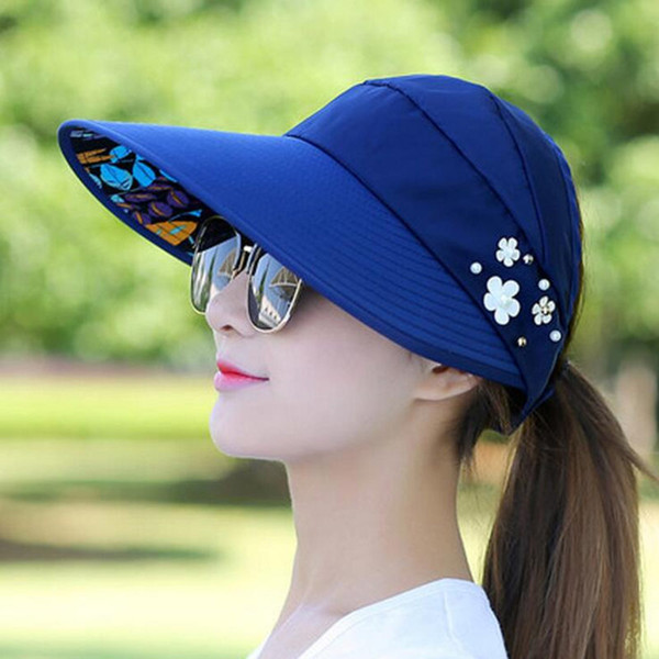 Chapeaux de soleil d'été pour femmes soleil large bord visière chapeau femelle fleur de plage réglable UV protéger Chapeau