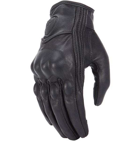 Nueva búsqueda retro guantes de moto de cuero real pantalla táctil hombres mujeres Motocross guantes de bicicleta eléctrica a prueba de agua guante moto